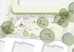 Planunagansicht: Die Bauarbeiten auf der künftig vergrößerten Fläche des Spielplatzes am Fuß- und Radweg Albrecht-Dürer-Weg gehen voran