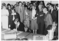 Unterzeichnung der Städtepartnerschaftsurkunde mit Pécs 1986