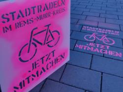 Werbung auf der Straße für die Aktion Stadtradeln