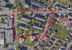 Luftbildaufnahme des Gebiets Dorfgärten II. Die vier Gebäude der Landes-Bau-Genossenschaft Württemberg sind markiert