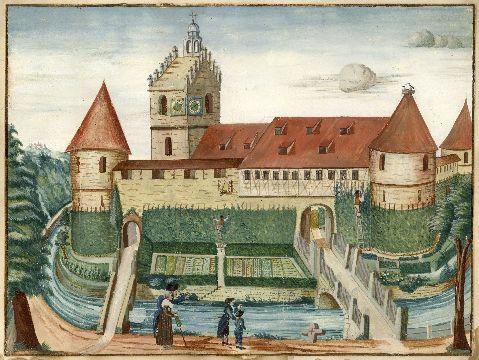 Aquarell der Lutherkirche mit Wassergraben