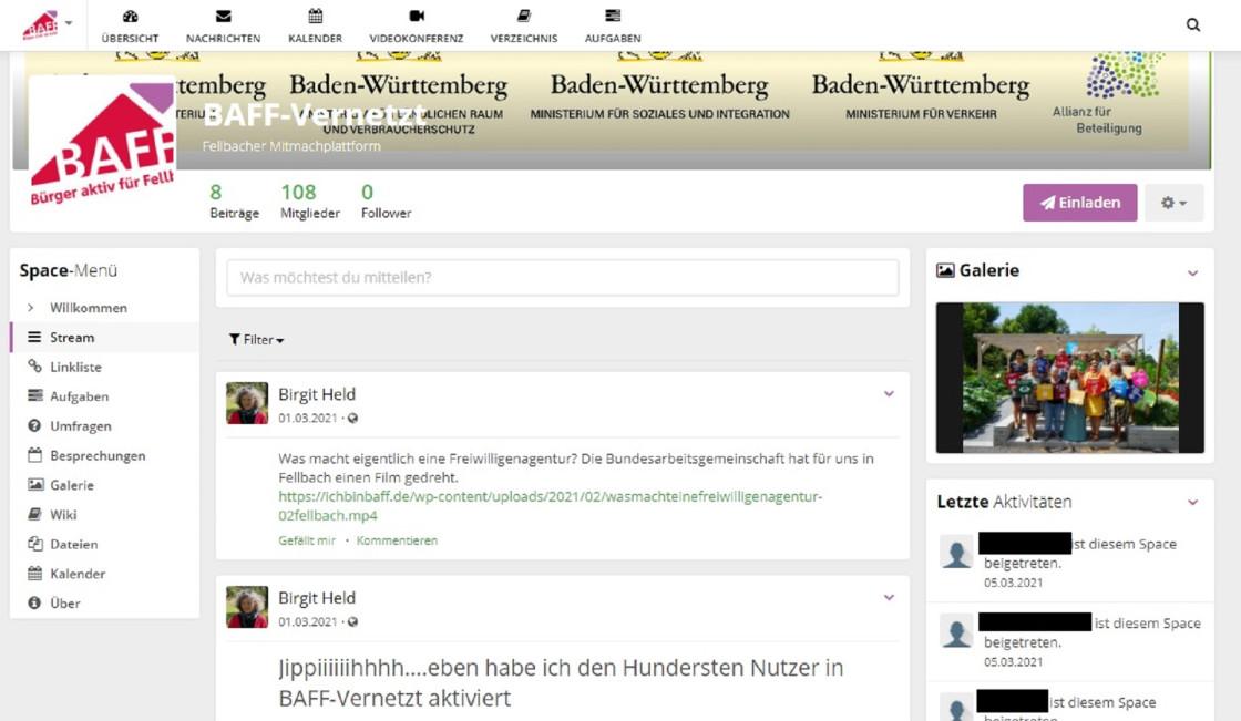 BAFF-vernetzt HumHub Titelseite