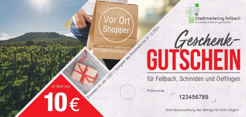 10,00 Euro Gutschein vom Stadtmarketing Fellbach