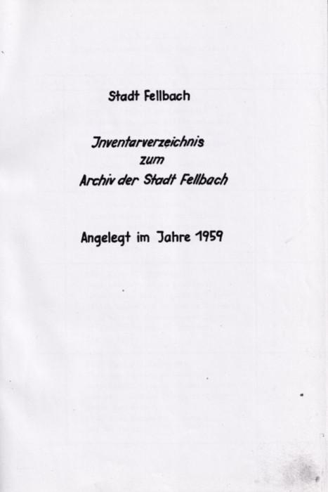Findbuch aus 1959