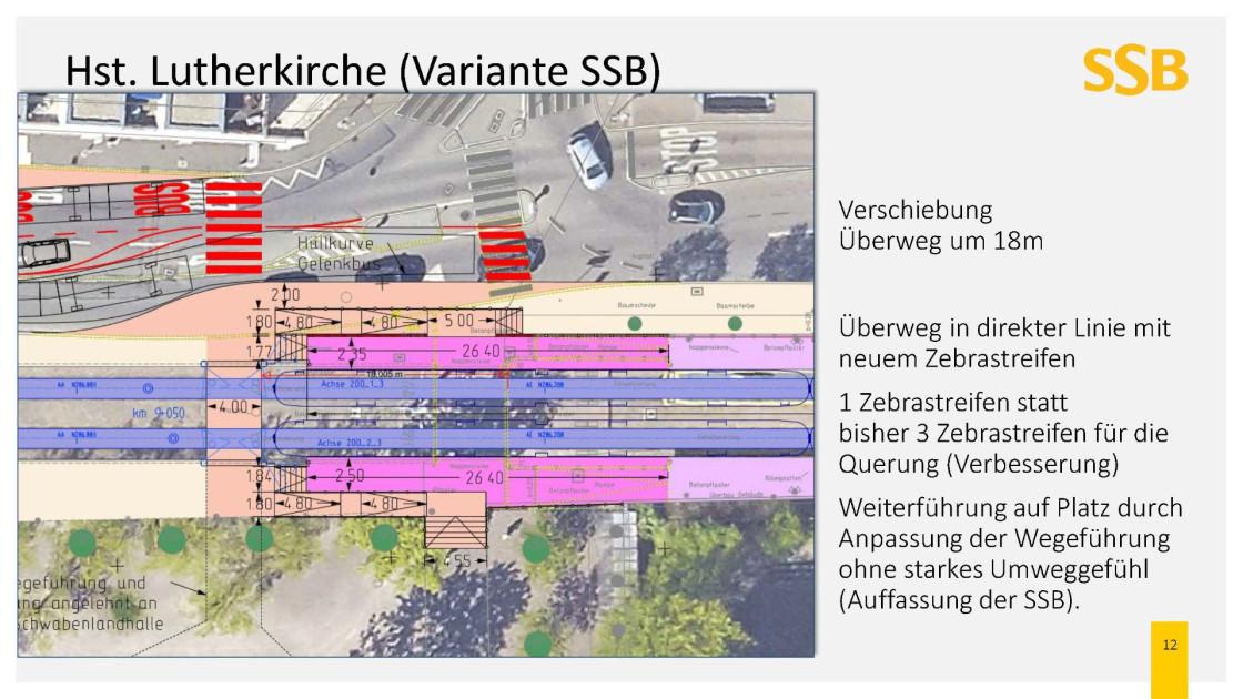 Visualisierung der Verschiebung des Ueberwegs um 18 Meter