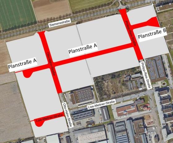 Nach zwei Straßennamen wird im Gewerbegebiet Siemensstraße gesucht.