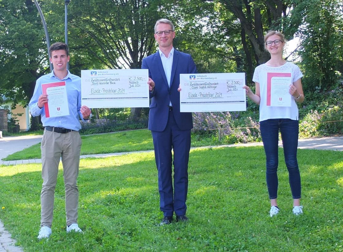 David Alexander Beck und Clara Sophie Heidinger mit EBM Johannes Berner